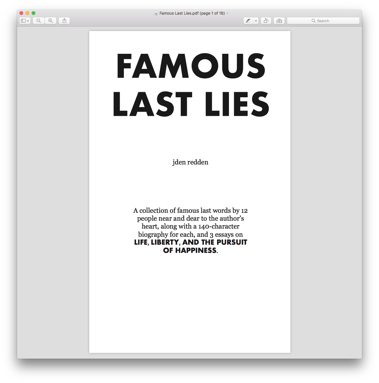 Title page of Famous Last Lies